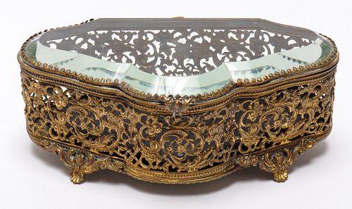 Continental Pierced Brass Dresser Box