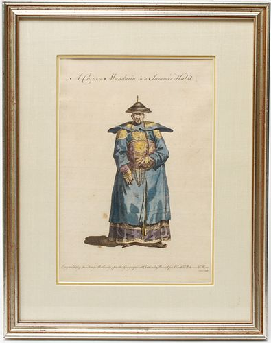 """""""Chinese Mandarin"""" Hand-Colored Engraving 19th C."""