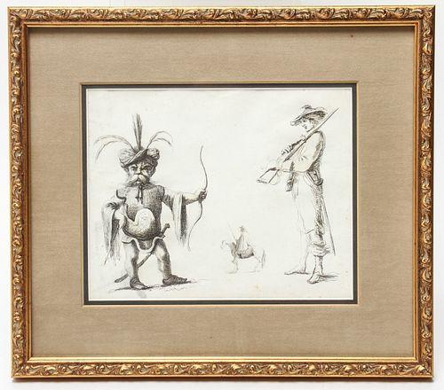 """""""Orientalist Man, Horse, Man w Rifle"""" Etching"""