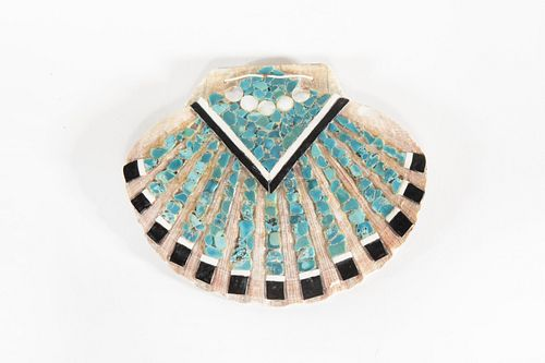 A Santo Domingo Turquoise and Stone Inlay Shell Medallion, ca. 1980
