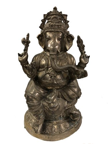 Large Asian/Thai Silver Plate ?Ganesha? Statue