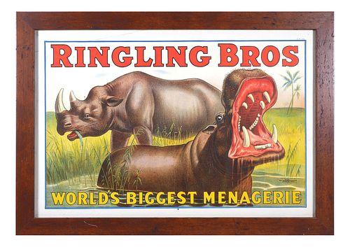 RINGLING BROS Strobridge Poster Hippo Rhino 1916