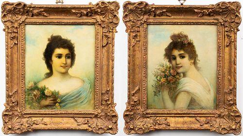 Edwardian Style Maiden Portraits Oils, Pair