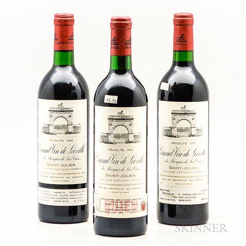 Chateau Leoville Las Cases 1986, 3 bottles