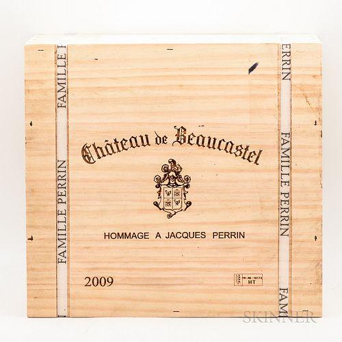 Chateau de Beaucastel Chateauneuf du Pape Hommage a Jacques Perrin 2009, 3 bottles (banded owc)