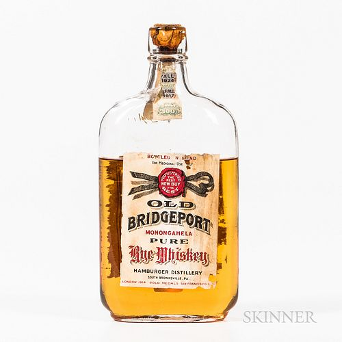 Old Bridgeport Rye 7 Years Old 1917, 1 pint bottle Spirits cannot be shipped. Please see http://bit.ly/sk-spirits for more info.