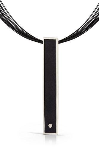 Portland Skies Bar Black Necklace