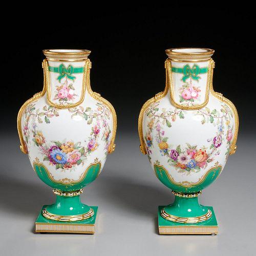 "Pair Minton ""Rope Festoon"" vases"