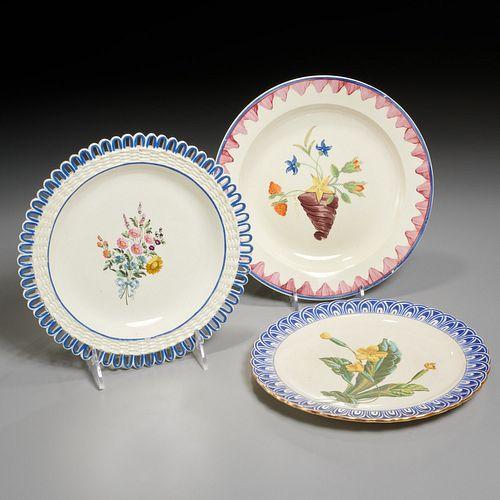 (3) old creamware plates, incl ex-Mario Buatta