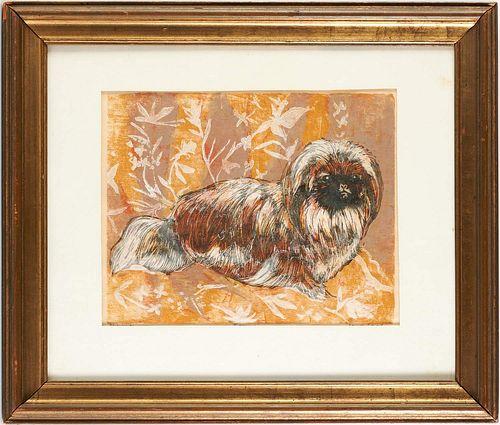 Sheila Flinn (attrib), Pekingese woodcut