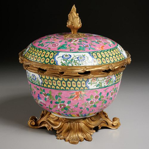 Ormolu mounted famille rose bowl by Beurdeley