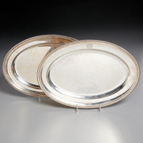Near pair English Regency silver trays
