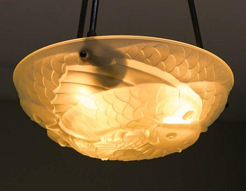 Lalique Style Art Deco Glass Chandelier Fish Motif c1930