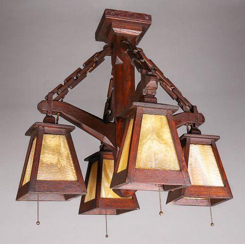 W.B. Brown Oak & Slag Glass Chandelier c1910