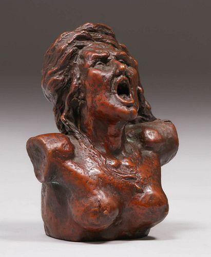 Antique Bronze Screaming Woman Sculpture c1910