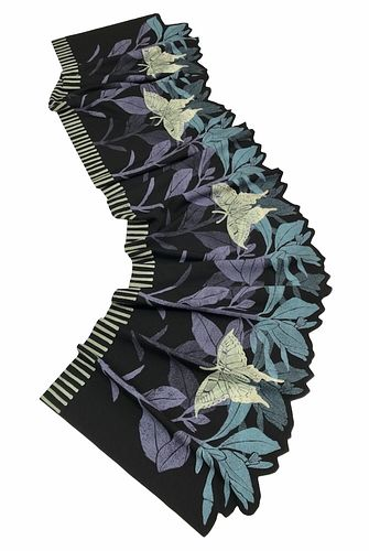 Black, turquoise and violet scarf with plants and butterflies.