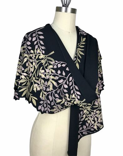 Black, blush and gold wrap with tiny leaves.