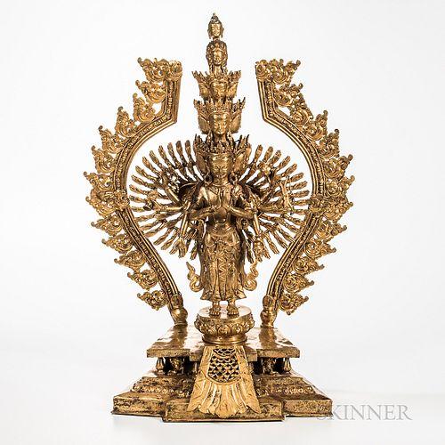 Gilt-bronze Figure of Thousand-armed Avalokitesvara