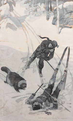 Gayle Hoskins (American, 1887-1962) Ski Scene