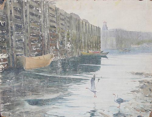 "Carl Ivar Gilbert  (1882 - 1959) ""Empty Harbor"""