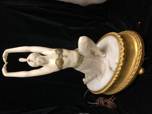 Art Deco Alabaster and marble Dancer Lamp