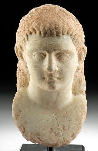 Fine Greek Hellenistic Marble Bust of a Youth