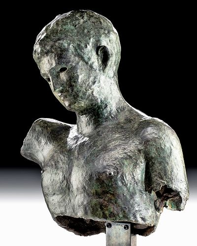 Rare Greek Hellenistic Bronze Sculpture of Male Youth