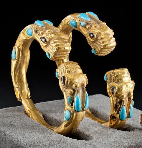 Achaemenid Gold Bracelets w/ Turquoise, Garnets (pr)