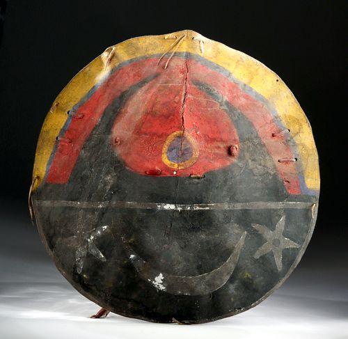 19th C. Pueblo Indians Painted Buffalo Hide War Shield