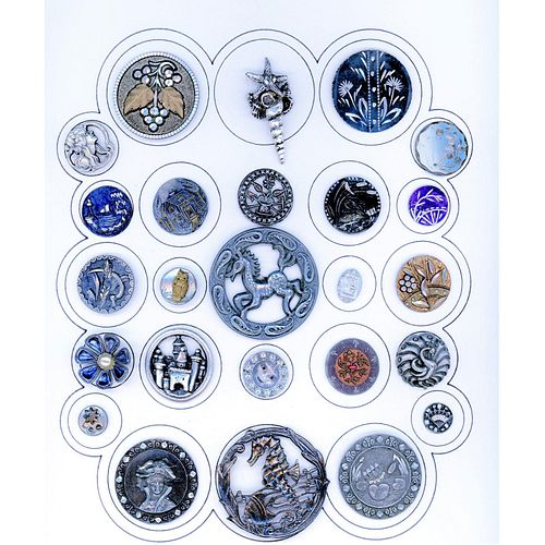 A Full Card Of Div 1 And 3 Assorted White Metal Buttons