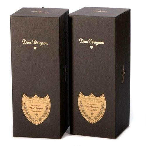 Two Bottles of 2006 Dom Perignon Champagne