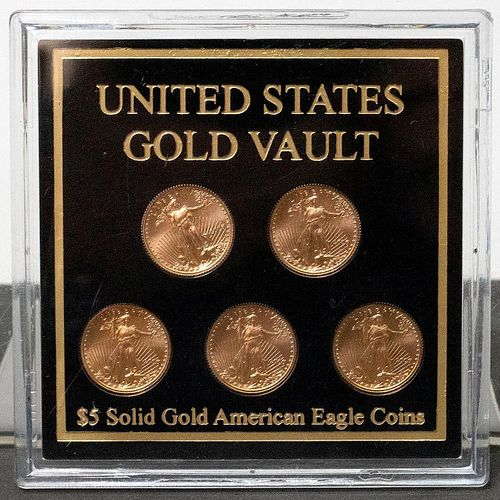 Five (5) 2006 1/10 OZ American Eagle Gold Coin Uncirculated