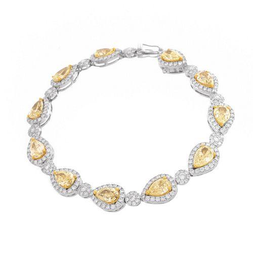 Fancy Yellow Diamond and 18K Bracelet