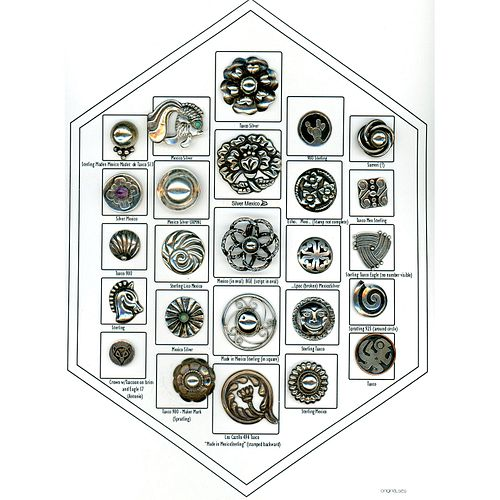 A Card Of Assorted Mexican Silver Buttons