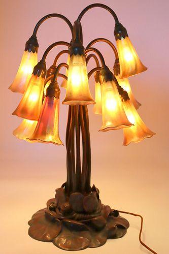 Tiffany Studios 12 Light Lilly Table Lamp.