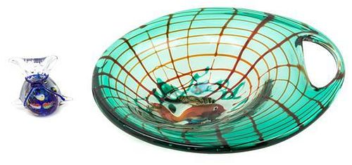 An Italian Glass Bowl Width of first 14 1/2 inches.