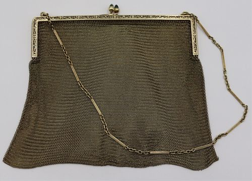 GOLD. Vintage 14kt Gold Mesh Purse with Sapphires.