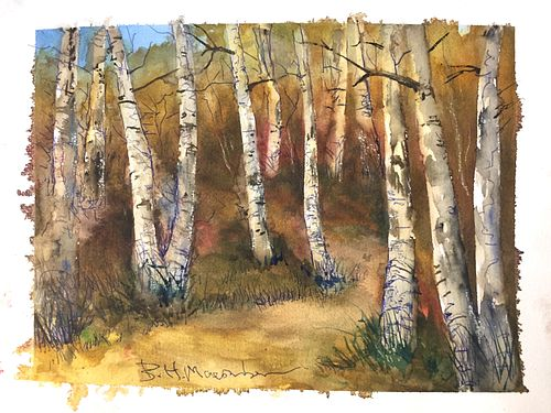 BEN MACOMBER, LIVE ART - Autumn Birch Trees & $100 Gift Certificate from Providence Picture Frame