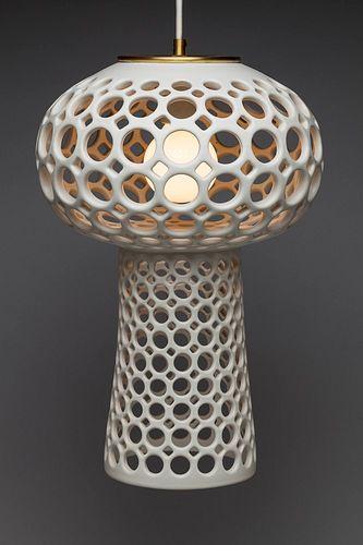 Pierced White Mushroom Pendant Lamp