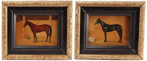 Pair of Folk Art Horse Paintings
