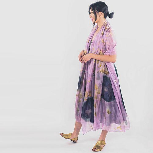 Large lavender silk shawl: Lavender, marigold, hibiscus