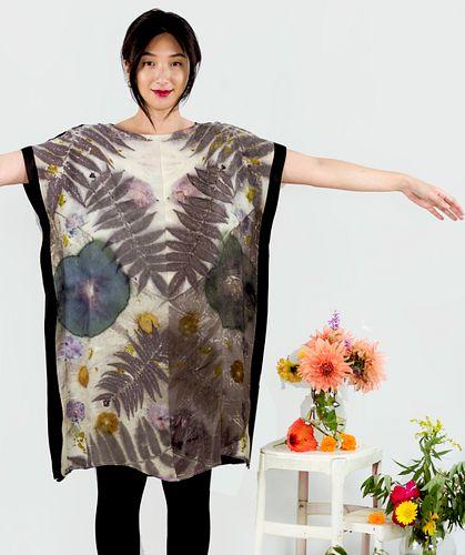 Hand dyed silk sheath dress: hibiscus, sumac, cosmos, black and white