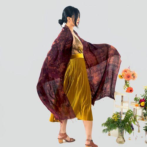 Large silk shawl with tassels: Madder, red, brown, orange