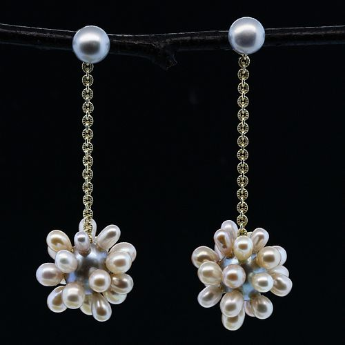 Gray and Natural Thistle Pearl Jacket Earrings