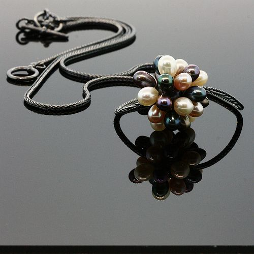 Multicolor Thistle Pearl Necklace