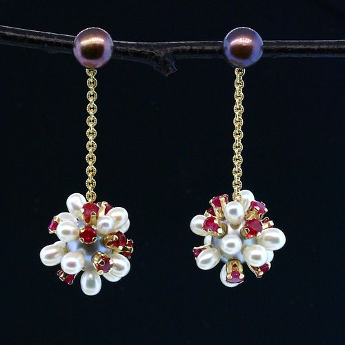 Pearl and Ruby Thistle Jacket Earrings