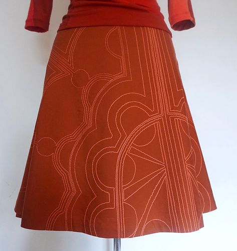 "Paprika ""Radiant"" Stitch Full A-line Skirt (SIZE M)"