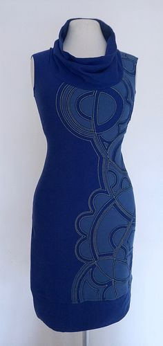"Cobalt/Cornflower ""Chimmi"" Applique Dress (SIZE S)"