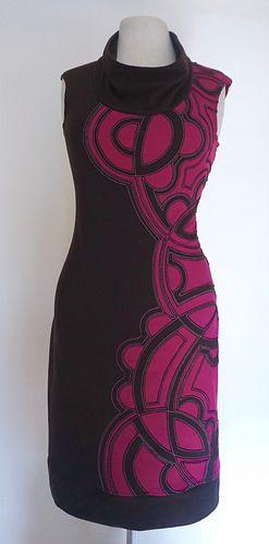 "Brown/Magenta ""Chimmi"" Applique Dress (SIZE M)"