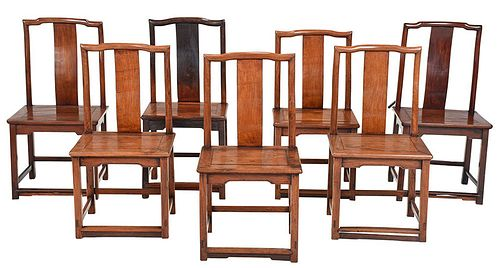 Assembled Set of Seven Chinese Hardwood Chairs